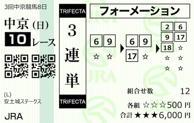 アルカナム5月30日中京10R購入馬券