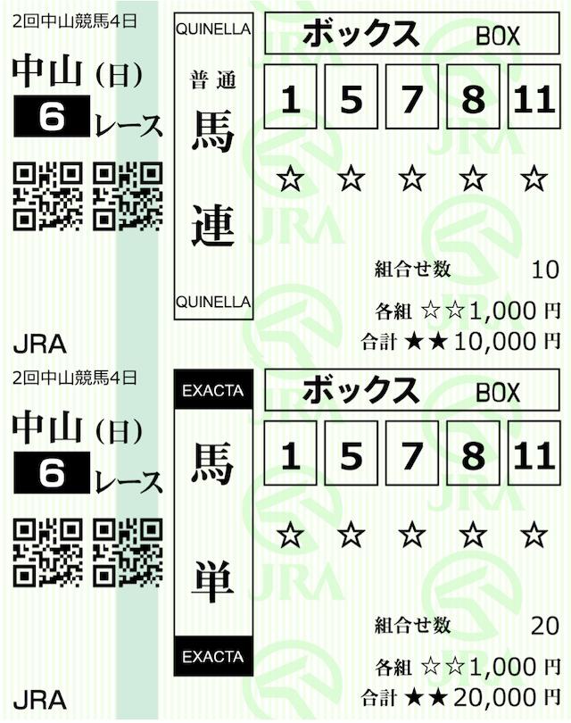 アルカナム3月7日中山6R購入馬券