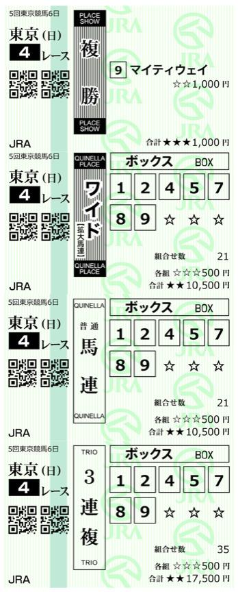 高配当XXX11月22日東京4R購入馬券