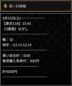 エクストラ5月15日東京11R無料情報