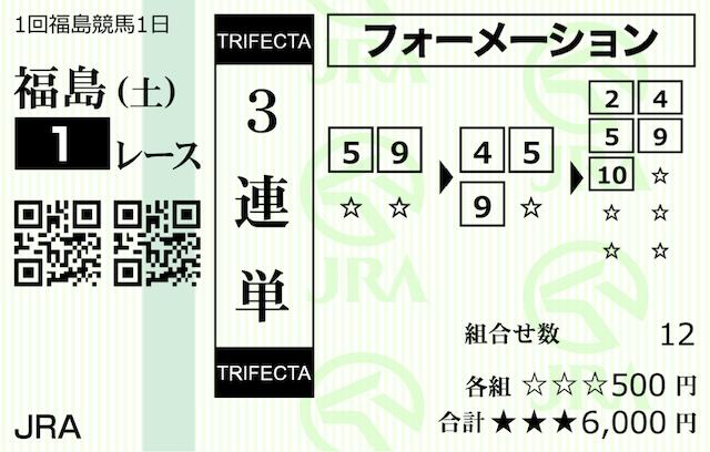 ダービータイムズ有料情報検証福島1R購入馬券