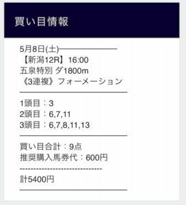 グロリア無料情報5月8日新潟12R