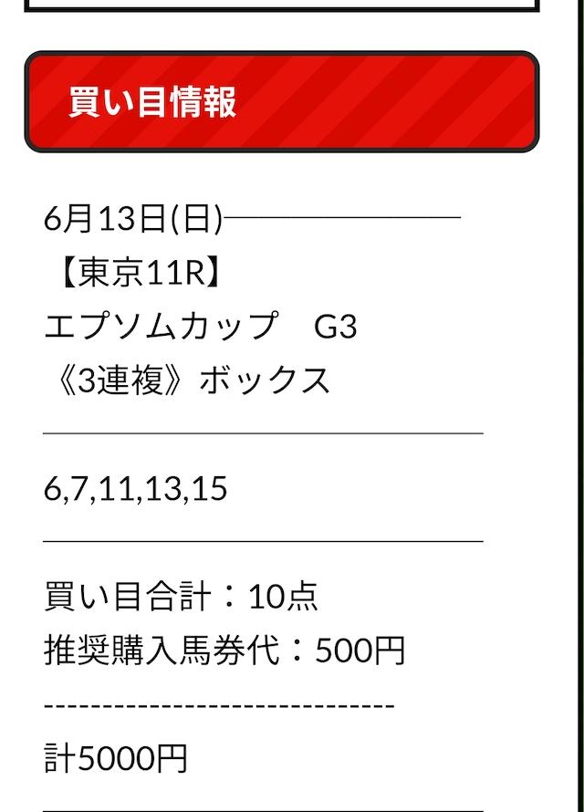 ウマニキ無料情報6月13日買い目