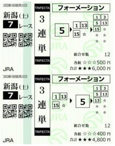 ホースクエスト8月7日新潟7R無料情報購入馬券