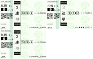 ホースクエスト8月28日有料情報札幌9R購入馬券